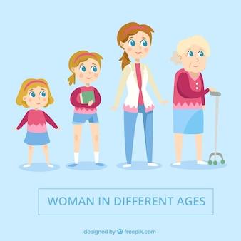 Weiße Frauensammlung in verschiedenen Altern