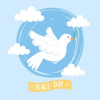 Weiße friedenstaube des internationalen friedenstages, die zweigfliegenhimmelwolkenvektorillustration hält