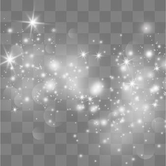 Weiße funken glitzern als spezieller lichteffekt.
