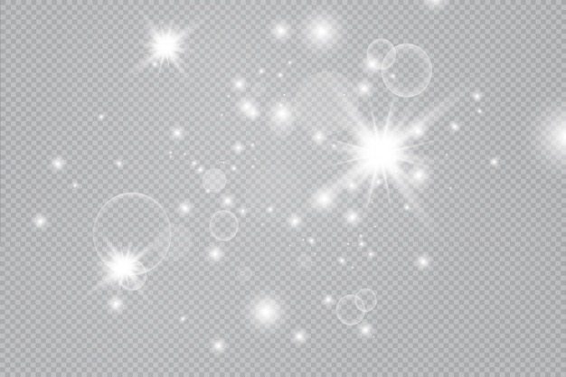 Weiße funken glitzern besonderen lichteffekt. abstraktes weihnachtsmuster. funkelnde magische staubpartikel