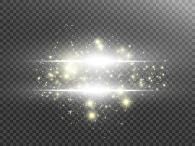 Weiße funken glitzern lichteffekt. funkelnde magische staubpartikel.