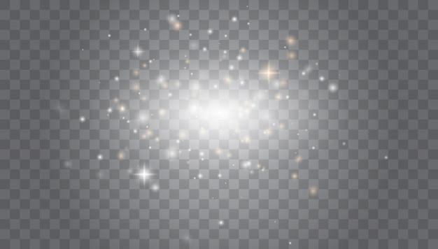 Weiße funken, spezieller lichteffekt. magischer lichteffekt des glühens. sternenstaub.