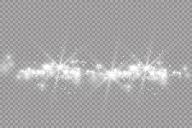 Weiße funken und goldene sterne glitzern besonderer lichteffekt