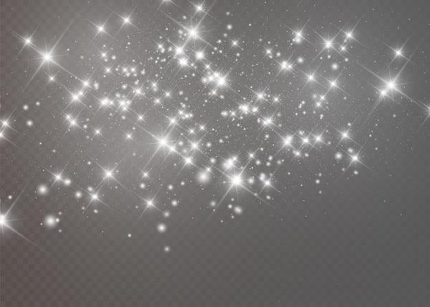 Weiße funken und goldene sterne glitzern besonderer lichteffekt Premium Vektoren