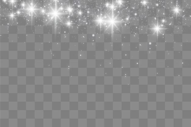 Weiße funken und goldene sterne glitzern mit besonderem lichteffekt, funkeln