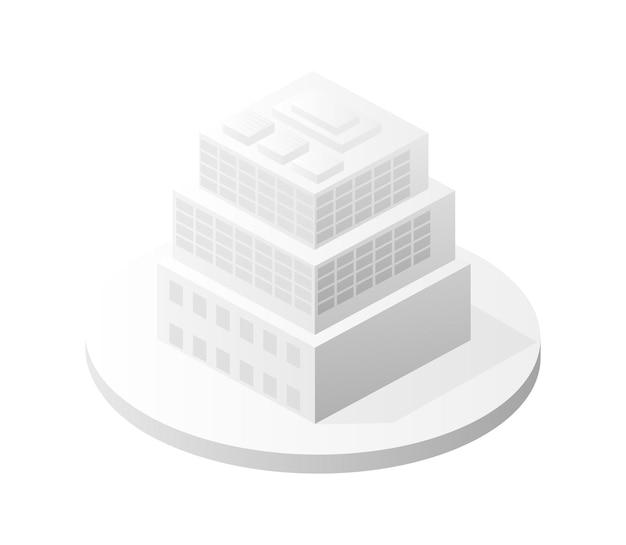Weiße gebäudeikone intelligente gebäudehausarchitektur ist eine idee von technologiegeschäftsausrüstung flacher städtischer isometrischer illustration