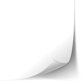 Weiße gelockte papierseite isoliert