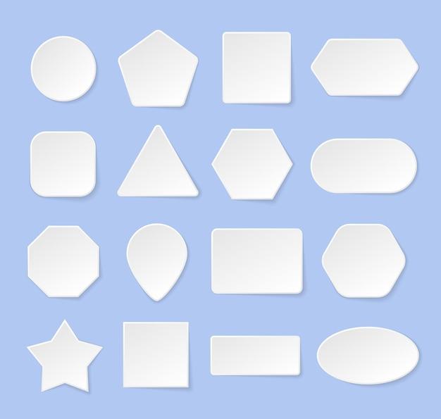Weiße geometrische formen in einem trendigen weichen 3d-stil mit schatten