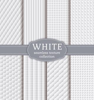 Weiße geometrische texturen. vektor festgelegt.