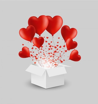 Weiße geschenkbox des vektors mit roten herzballonen
