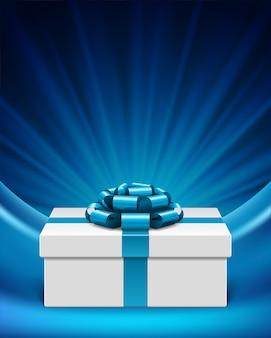 Weiße geschenkbox mit blauem bogenband mit lichtsternstrahlen und -illustration
