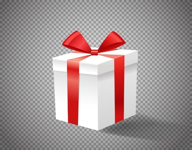 Weiße geschenkbox mit rotem band