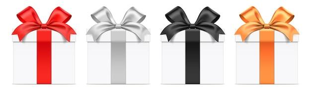 Weiße geschenkbox mit verschiedenen farbbändern
