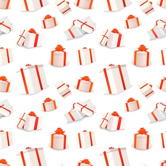 Weiße geschenkboxen mit bändern und bögen