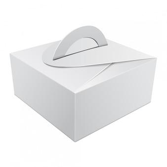 Weiße geschenkverpackungsbox mit griff für kuchen. karton verpackungsbehälter vorlage für hochzeitsfeier dekoration