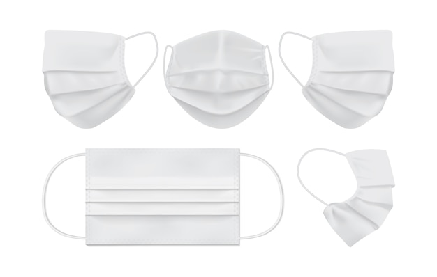 Weiße gesichtsmaske lokalisiert auf weißem hintergrund