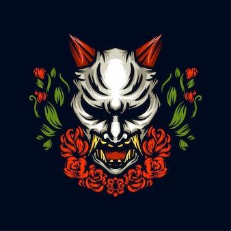 Weiße gezeichnete illustration der hand des weißen dämon oni maske