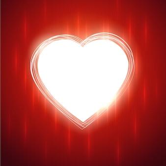 Weiße glühende herzform auf rotem stilvollem hintergrund. illustration.