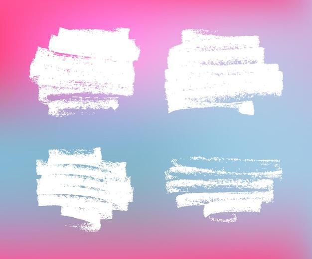Weiße grunge-abstriche auf farbigem hintergrund. vektorelemente für modernes design