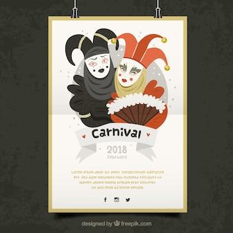 Weiße hängende plakatschablone für karneval