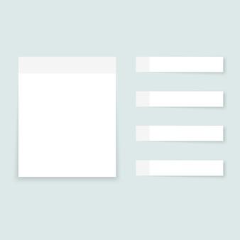 Weiße haftnotizen farbige papierbögen