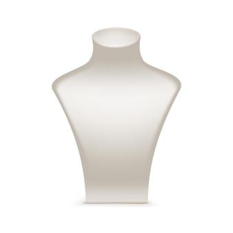Weiße halskette schaufensterpuppe ständer für schmuck nahaufnahme isoliert auf weiß