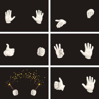 Weiße handschuhe gesetzt
