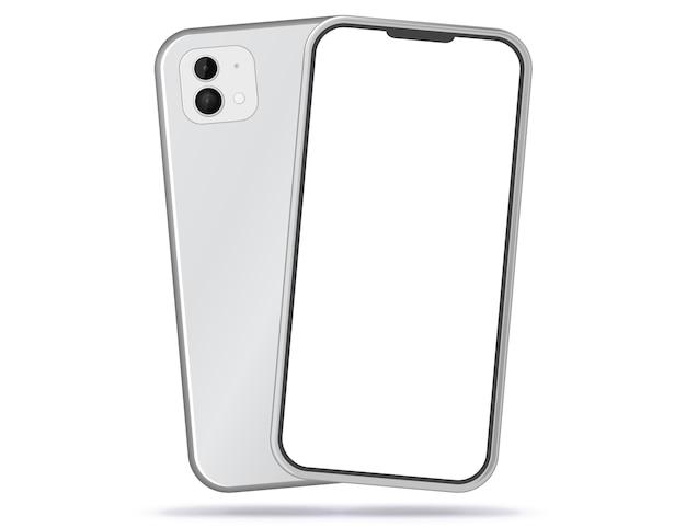 Weiße handy-vorder- und rückansicht. leere und weiße bildschirm-smartphone-illustration.