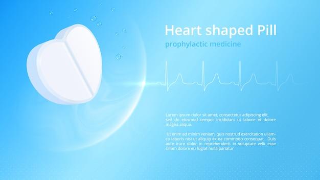 Weiße herzförmige pille und authentisches gesundes kardiogramm. vorlage für pharmazeutische informative poster im gesundheitswesen