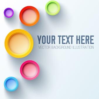 Weiße hintergrundgeschäftsschablone mit hellen regenbogen 3d kreisen und platz für ihren text