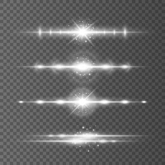 Weiße horizontale linseneffekte packen laserstrahlen lichtfackeln