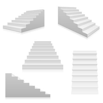 Weiße innentreppenhäuser der treppe 3d lokalisiert