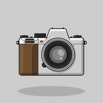 Weiße kamera mirrorles vintage flache karikatur handgezeichnete vektor isoliert