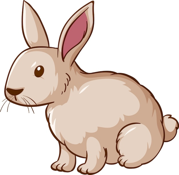 Weiße kaninchenkarikatur auf weißem hintergrund