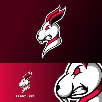 Weiße kaninchenmaskottchensport-spielesport-logoschablone für kaderteamverein