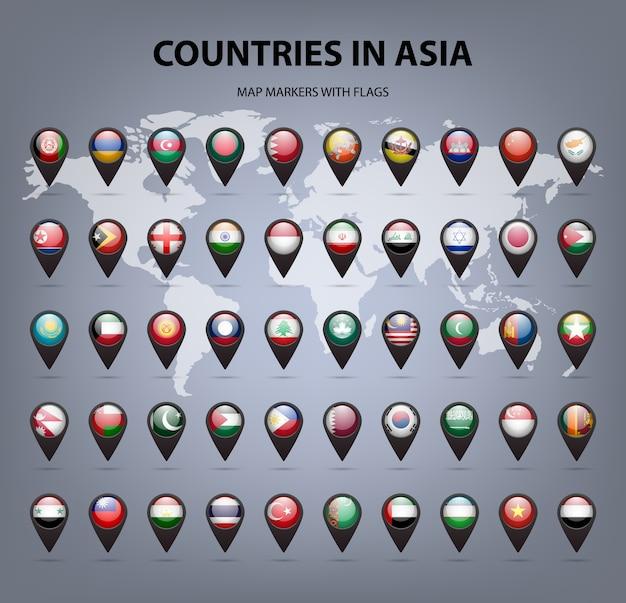 Weiße kartenmarkierungen mit flaggen asien originalfarben