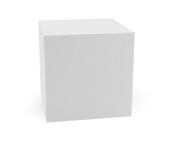 Weiße kasten-seitenansicht lokalisiert auf hellem hintergrund