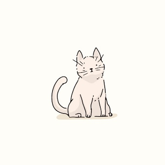 Weiße katze gekritzelelement