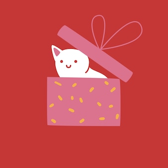 Weiße katze versteckt sich in geschenkbox. netter charakter auf rotem hintergrund, grußkartendesign, vektorillustration