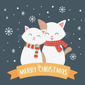 Weiße katzen mit schal- und schneeflockenillustration