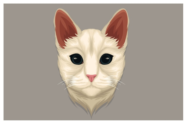 Weiße katzenillustration, die etwas anstarrt