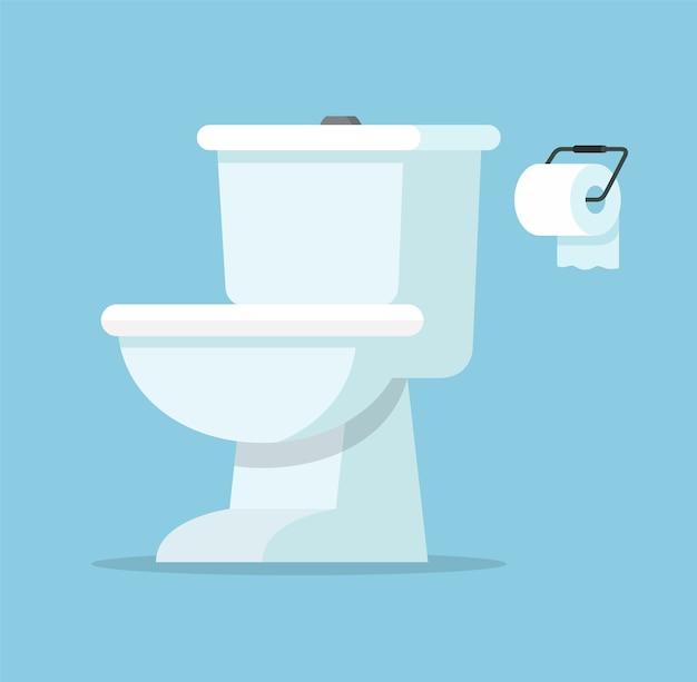 Weiße keramik-toilette toilettenschüssel mit toilettenpapierrolle