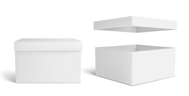 Weiße kiste. leere verpackungsschachtel, verpackung