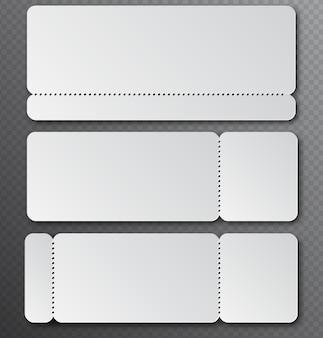 Weiße klare ticketvorlage mit abreißelement isoliert auf transparentem hintergrund. eintrittskarte für musik, tanz, live-konzert. lotto leer.