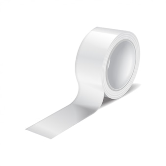 Weiße klebebandrolle. realistische schablone der klebebandrolle, klebeband