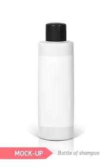 Weiße kleine flasche shampoo mit etikett. mocap zur präsentation des etiketts.