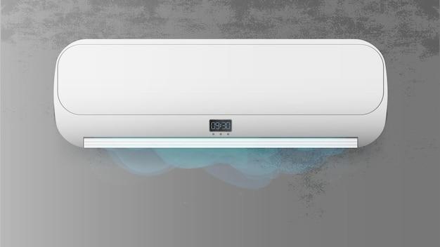 Weiße klimaanlage an einer betonwand. realistischer klimaanlagenvektor.