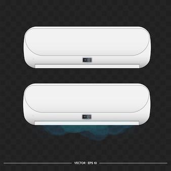 Weiße klimaanlage strahlt kaltes 3d aus. realistischer klimaanlagenvektor.