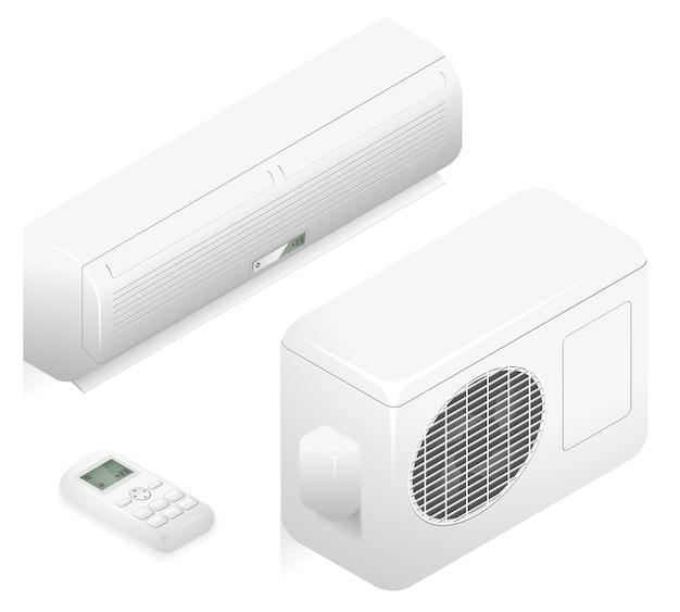 Weiße klimaanlage zur klimatisierung im büro. 3d home sommer klimaanlage. klimaanlage zur darstellung der lüftungsluft