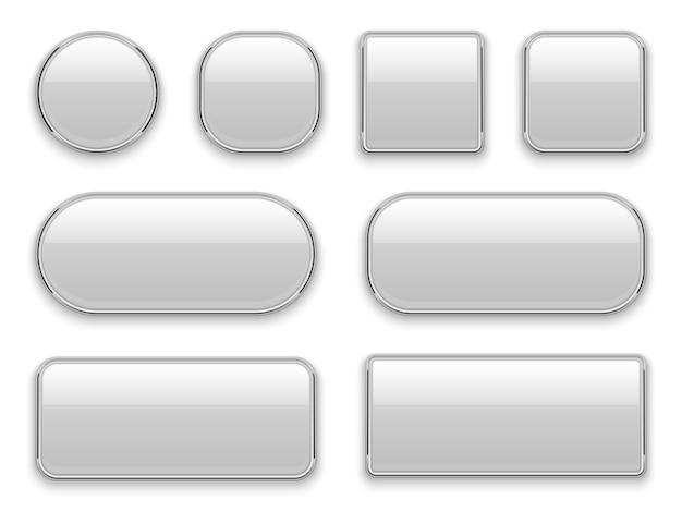 Weiße knöpfe chromrahmen. realistische webelemente ovales rechteck quadratischer kreis chrom weiße knopfoberfläche
